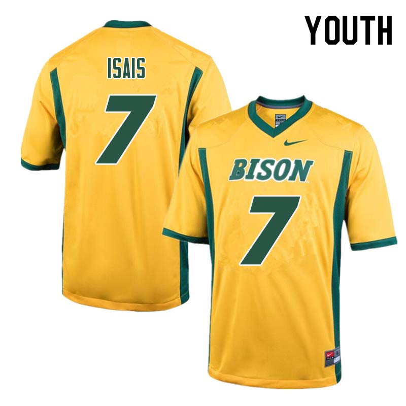 Youth #7 Peter Isais North Dakota State Bison College Football Jerseys Sale-Yellow
