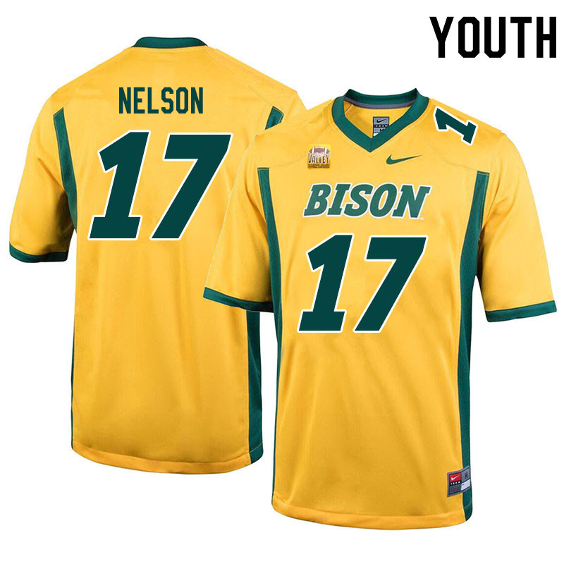 Youth #17 RaJa Nelson North Dakota State Bison College Football Jerseys Sale-Yellow