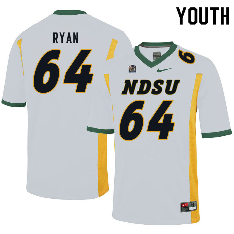 Youth #64 Reed Ryan North Dakota State Bison College Football Jerseys Sale-White
