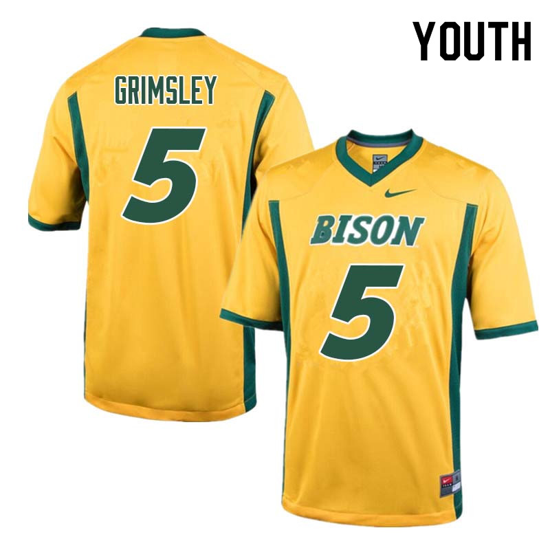 Youth #5 Robbie Grimsley North Dakota State Bison College Football Jerseys Sale-Yellow