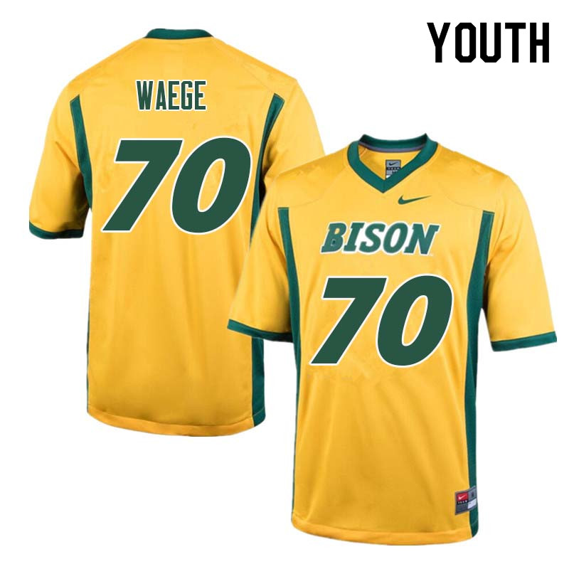 Youth #70 Spencer Waege North Dakota State Bison College Football Jerseys Sale-Yellow