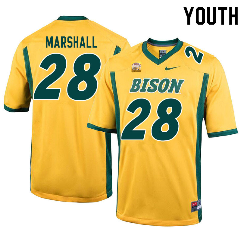 Youth #28 TK Marshall North Dakota State Bison College Football Jerseys Sale-Yellow