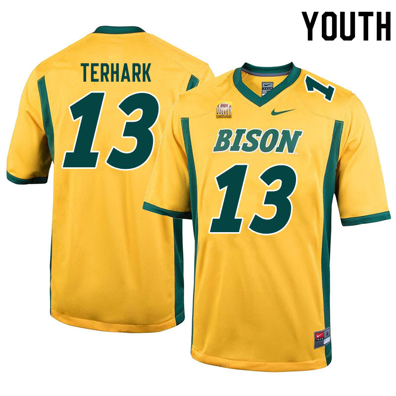 Youth #13 Tyler Terhark North Dakota State Bison College Football Jerseys Sale-Yellow