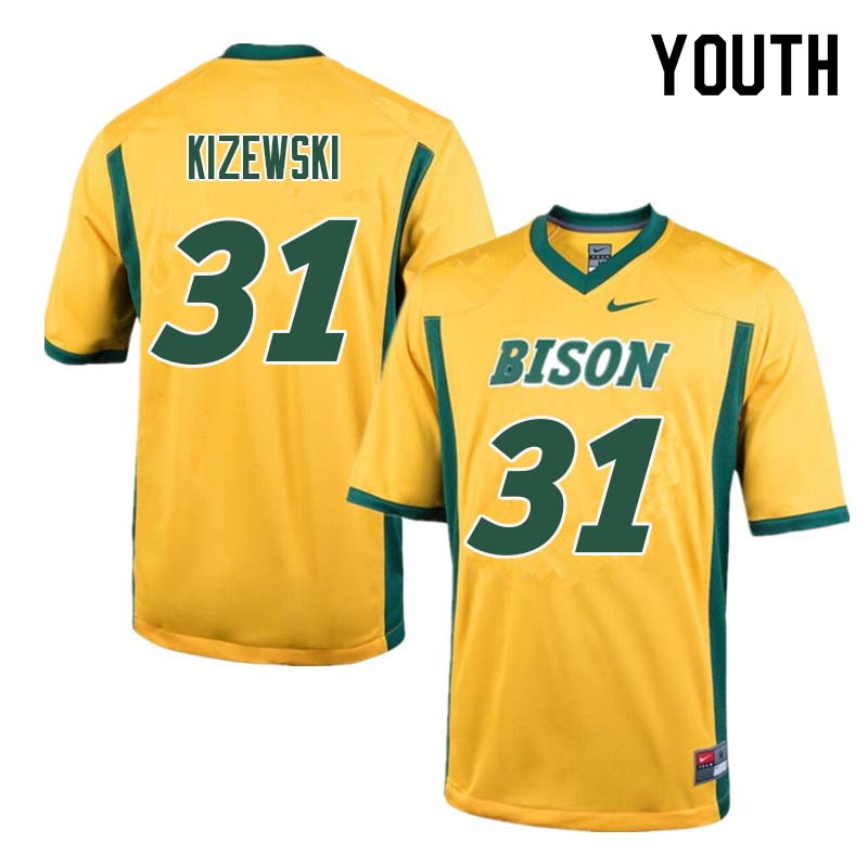 Youth #31 Victor Kizewski North Dakota State Bison College Football Jerseys Sale-Yellow