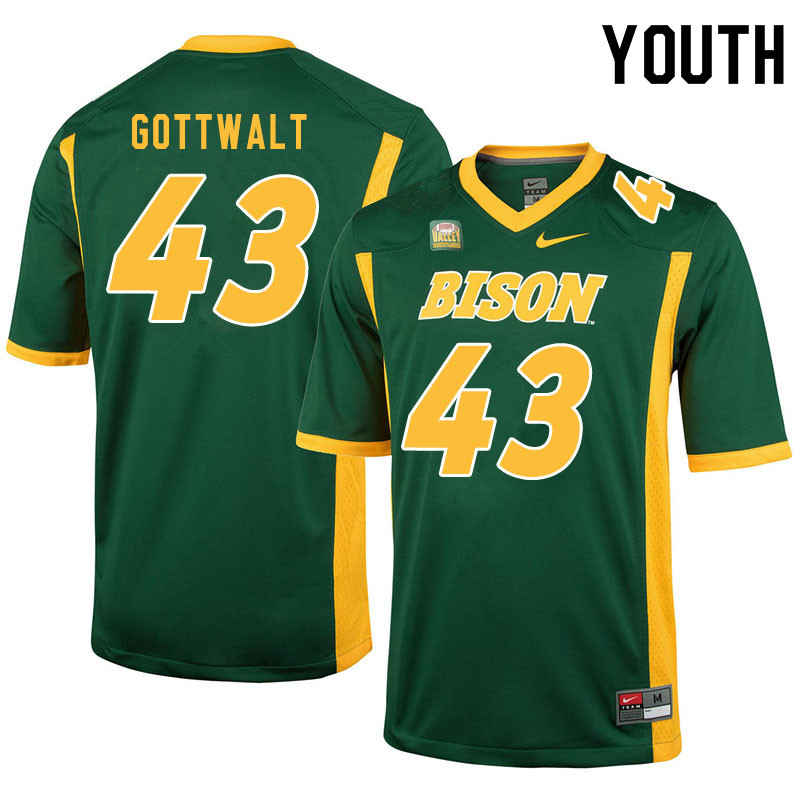 Youth #43 Zach Gottwalt North Dakota State Bison College Football Jerseys Sale-Green