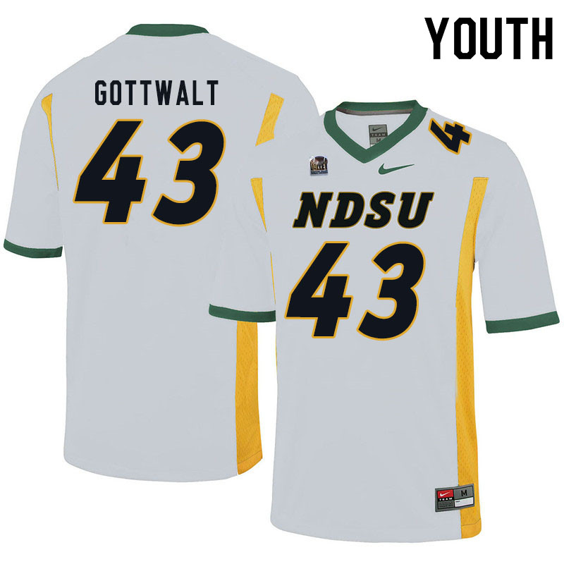Youth #43 Zach Gottwalt North Dakota State Bison College Football Jerseys Sale-White