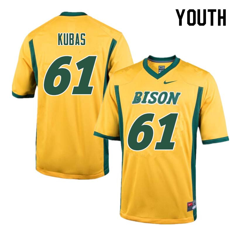 Youth #61 Zach Kubas North Dakota State Bison College Football Jerseys Sale-Yellow