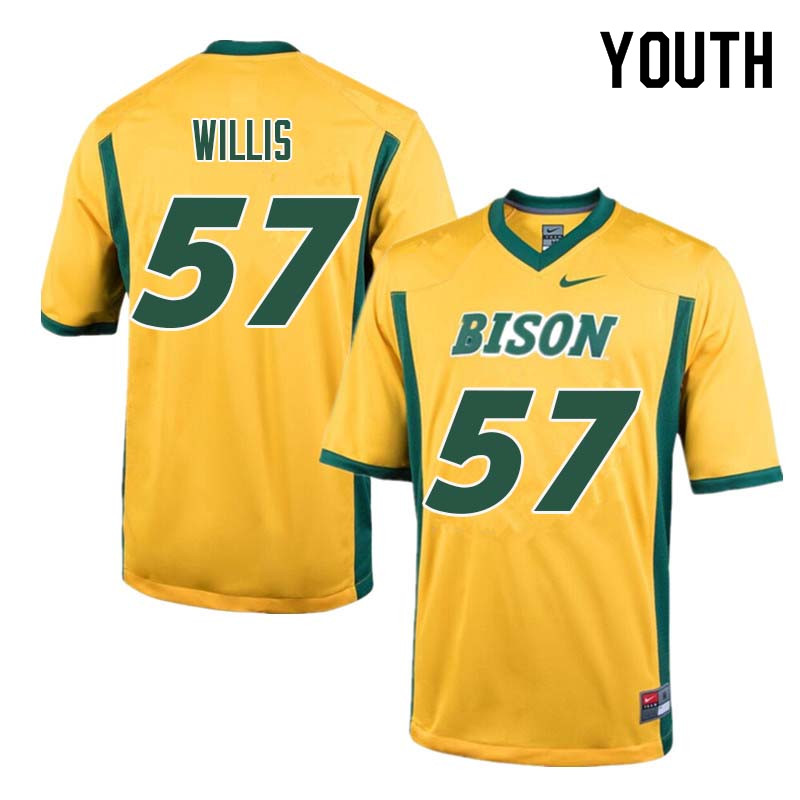 Youth #57 Zach Willis North Dakota State Bison College Football Jerseys Sale-Yellow