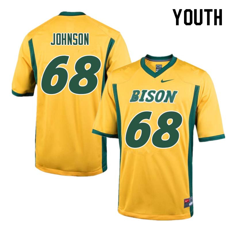 Youth #68 Zack Johnson North Dakota State Bison College Football Jerseys Sale-Yellow