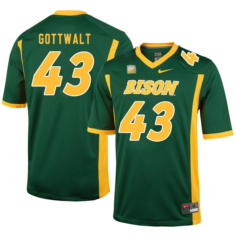 Men #43 Zach Gottwalt North Dakota State Bison College Football Jerseys Sale-Green