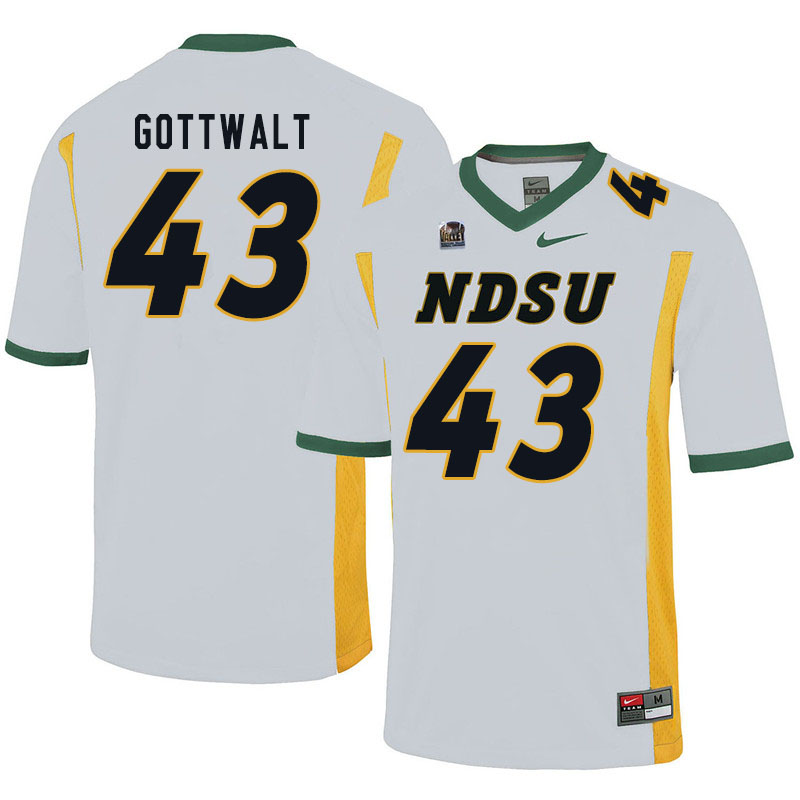 Men #43 Zach Gottwalt North Dakota State Bison College Football Jerseys Sale-White