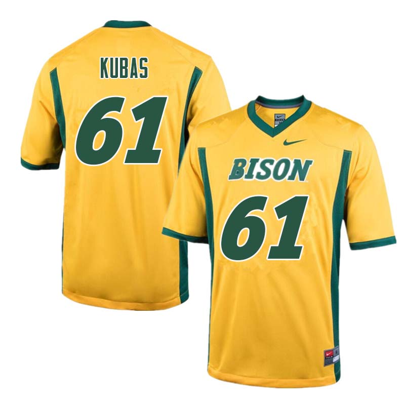Men #61 Zach Kubas North Dakota State Bison College Football Jerseys Sale-Yellow