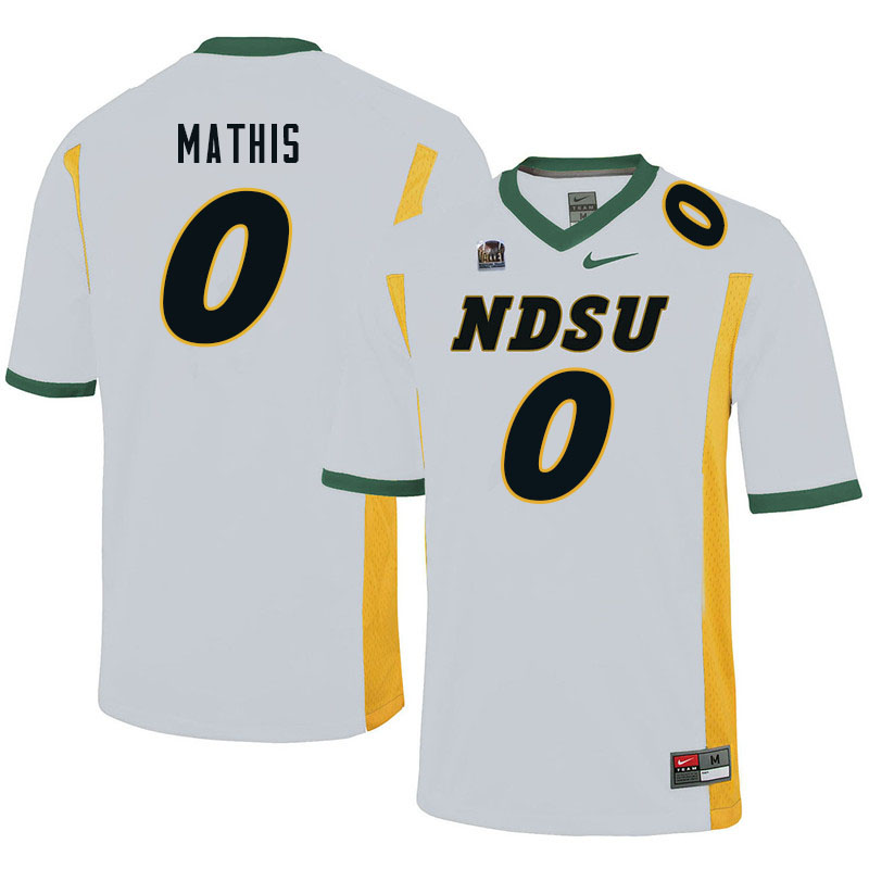 Men #0 Zach Mathis North Dakota State Bison College Football Jerseys Sale-White