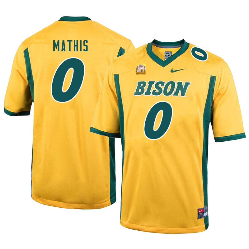Men #0 Zach Mathis North Dakota State Bison College Football Jerseys Sale-Yellow